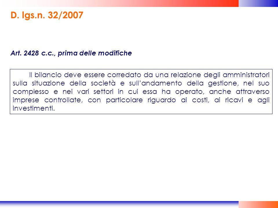 D. lgs.n. 32/2007 Art. 2428 c.c., prima delle modifiche