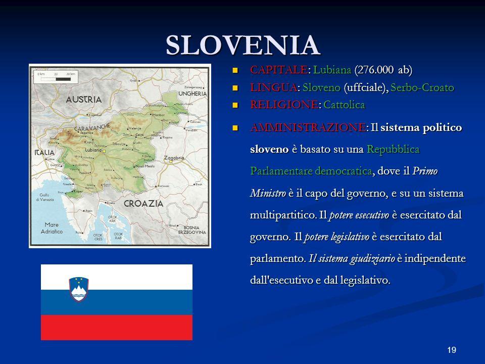 SLOVENIA CAPITALE: Lubiana (276.000 ab)