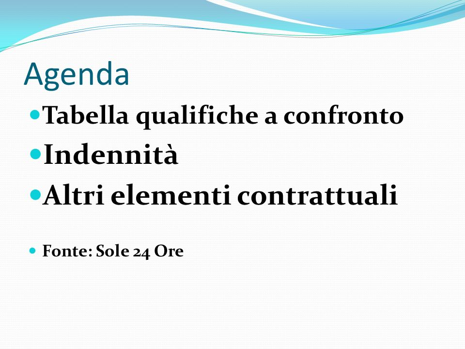 Agenda Indennità Altri elementi contrattuali