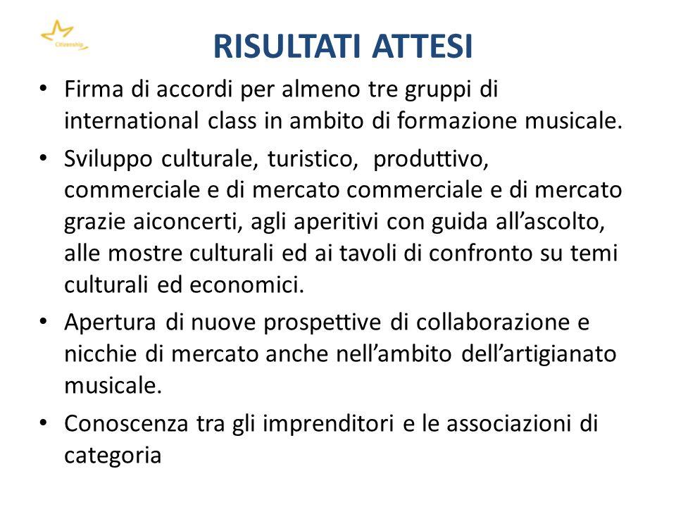 RISULTATI ATTESI Firma di accordi per almeno tre gruppi di international class in ambito di formazione musicale.