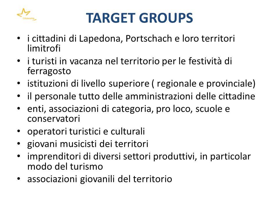 TARGET GROUPS i cittadini di Lapedona, Portschach e loro territori limitrofi. i turisti in vacanza nel territorio per le festività di ferragosto.