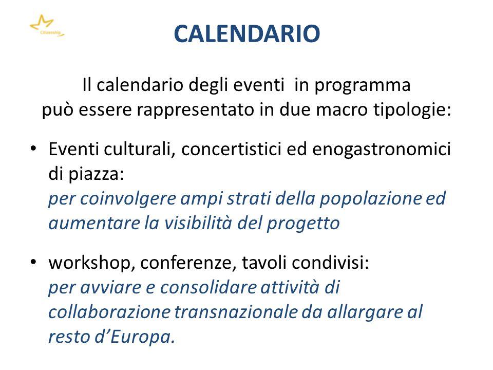 CALENDARIO Il calendario degli eventi in programma