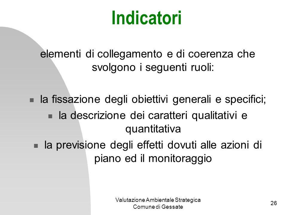 Indicatori elementi di collegamento e di coerenza che svolgono i seguenti ruoli: la fissazione degli obiettivi generali e specifici;