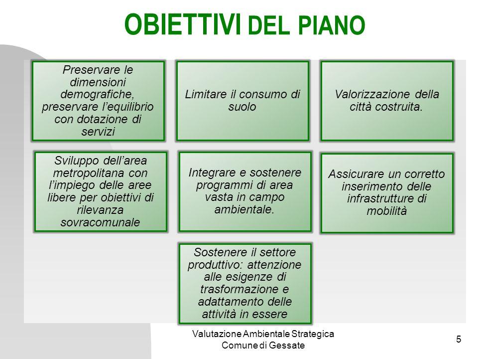 OBIETTIVI DEL PIANO Preservare le dimensioni demografiche, preservare l'equilibrio con dotazione di servizi.