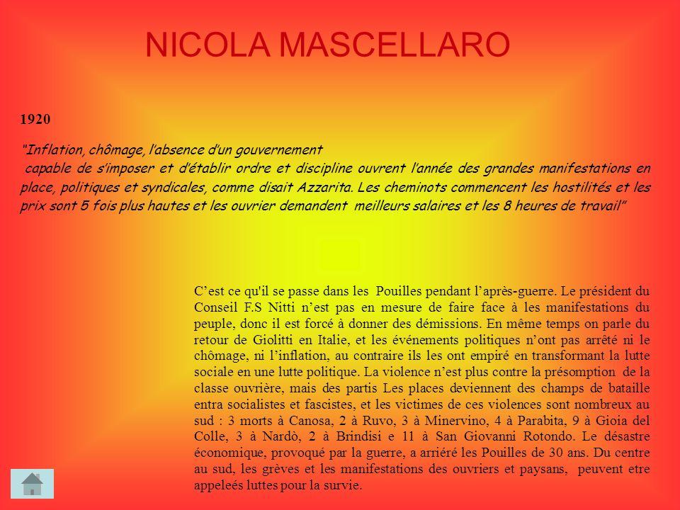 NICOLA MASCELLARO 1920. Inflation, chômage, l'absence d'un gouvernement.