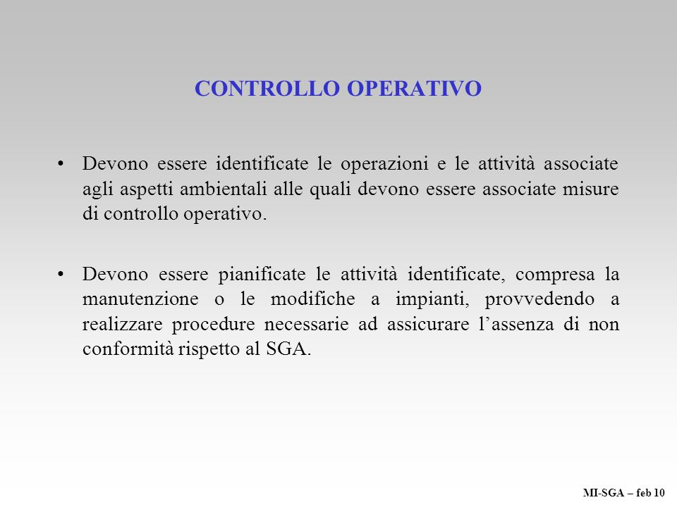 CONTROLLO OPERATIVO