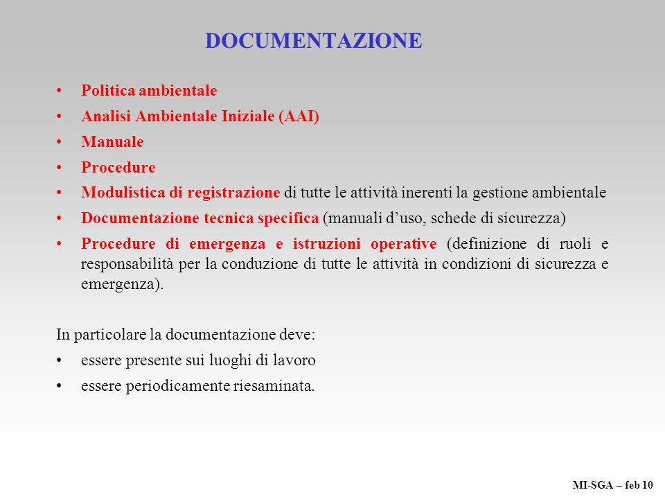 DOCUMENTAZIONE Politica ambientale Analisi Ambientale Iniziale (AAI)