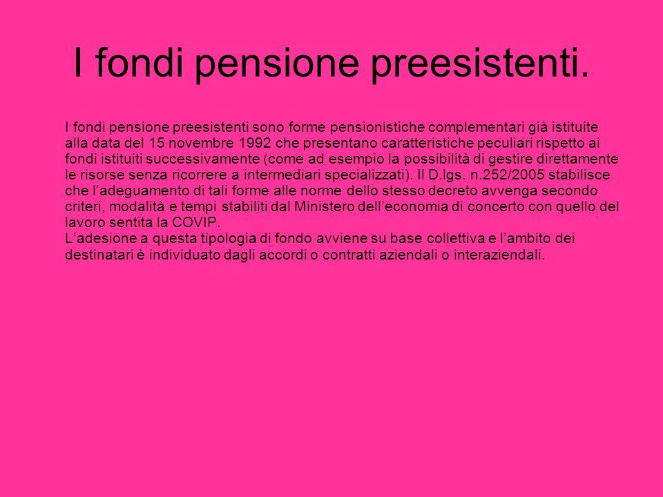 I fondi pensione preesistenti.