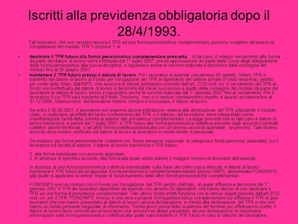 Iscritti alla previdenza obbligatoria dopo il 28/4/1993.
