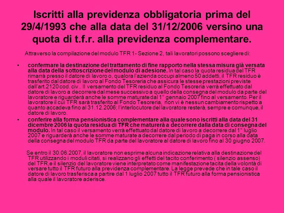 Iscritti alla previdenza obbligatoria prima del 29/4/1993 che alla data del 31/12/2006 versino una quota di t.f.r. alla previdenza complementare.