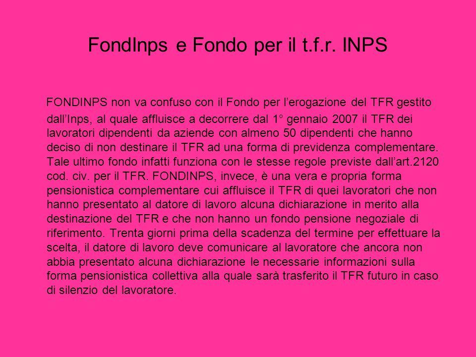 FondInps e Fondo per il t.f.r. INPS
