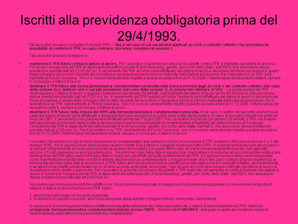 Iscritti alla previdenza obbligatoria prima del 29/4/1993.