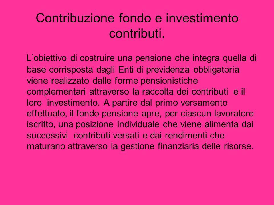 Contribuzione fondo e investimento contributi.