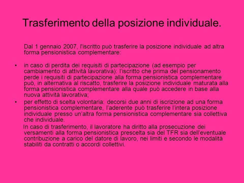 Trasferimento della posizione individuale.