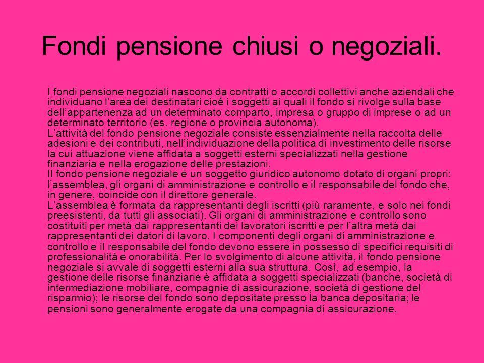 Fondi pensione chiusi o negoziali.