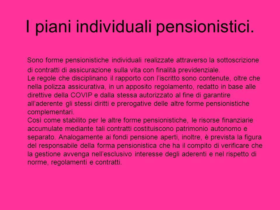 I piani individuali pensionistici.