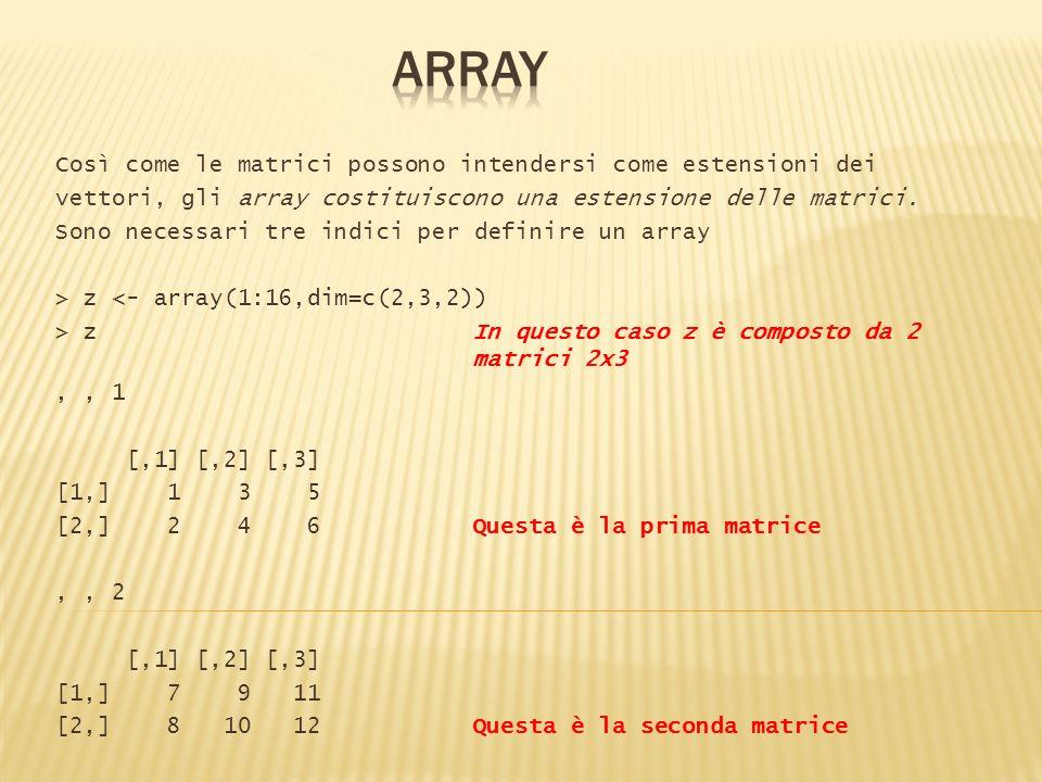 ARRAY Così come le matrici possono intendersi come estensioni dei