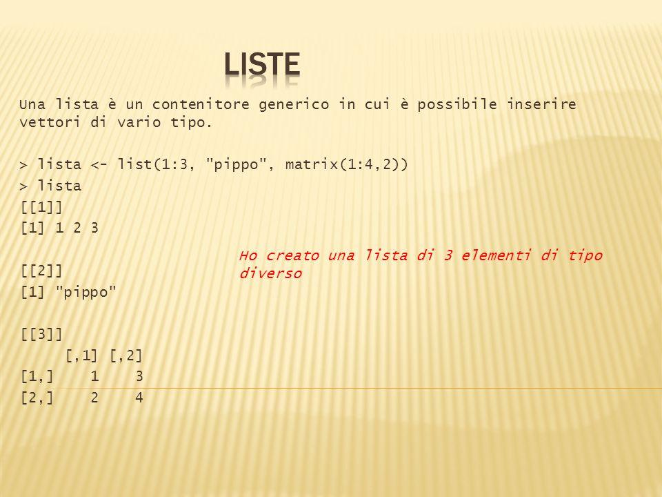 LISTE Una lista è un contenitore generico in cui è possibile inserire vettori di vario tipo. > lista <- list(1:3, pippo , matrix(1:4,2))