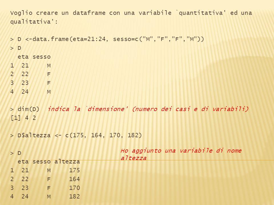 Voglio creare un dataframe con una variabile `quantitativa ed una