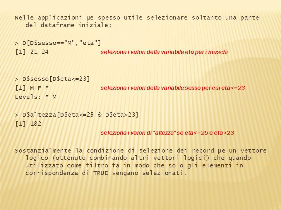 Nelle applicazioni µe spesso utile selezionare soltanto una parte del dataframe iniziale: