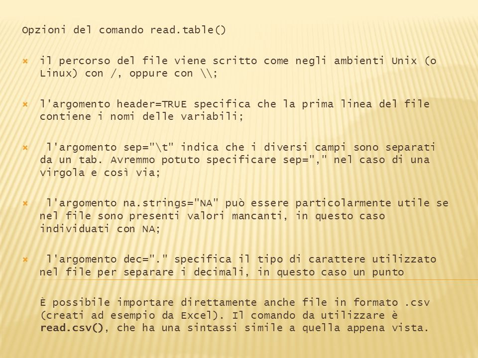Opzioni del comando read.table()