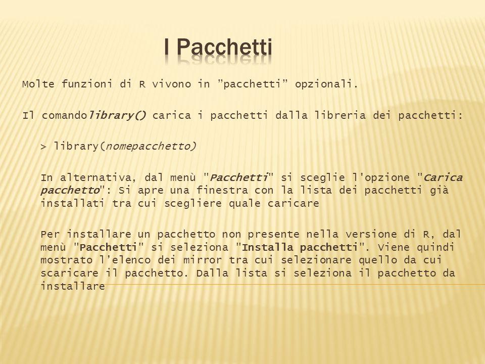 I Pacchetti Molte funzioni di R vivono in pacchetti opzionali.