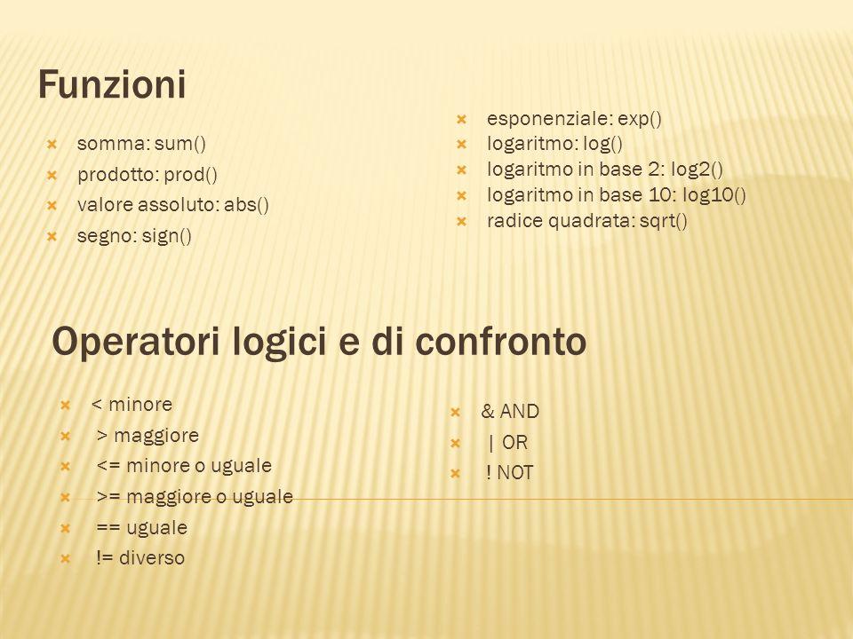 Operatori logici e di confronto