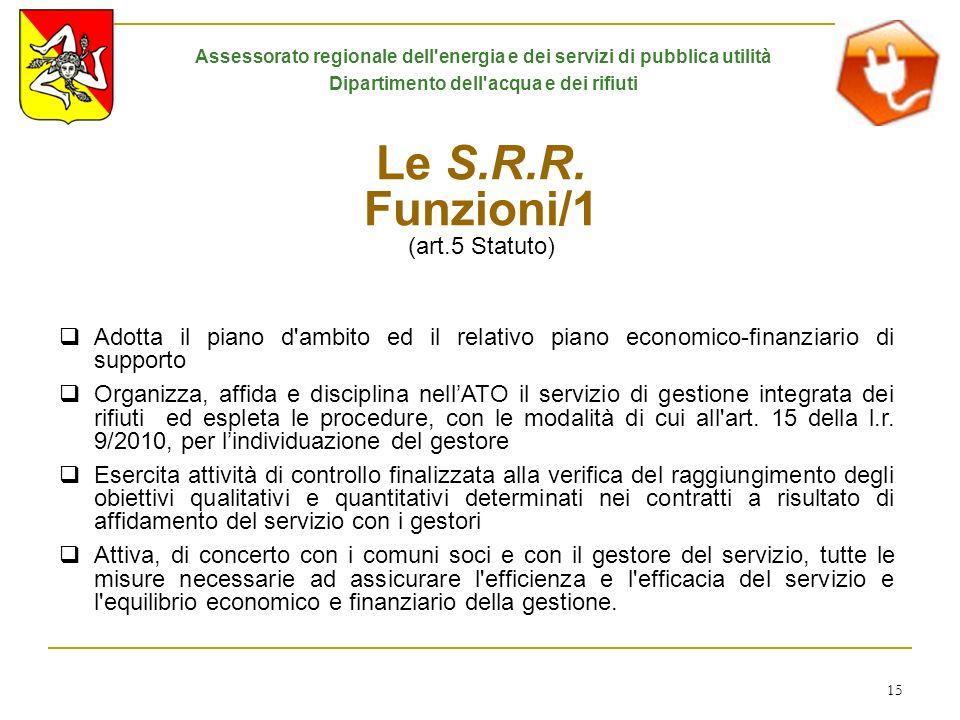 Le S.R.R. Funzioni/1 (art.5 Statuto)