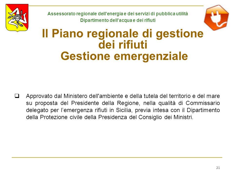 Il Piano regionale di gestione dei rifiuti Gestione emergenziale