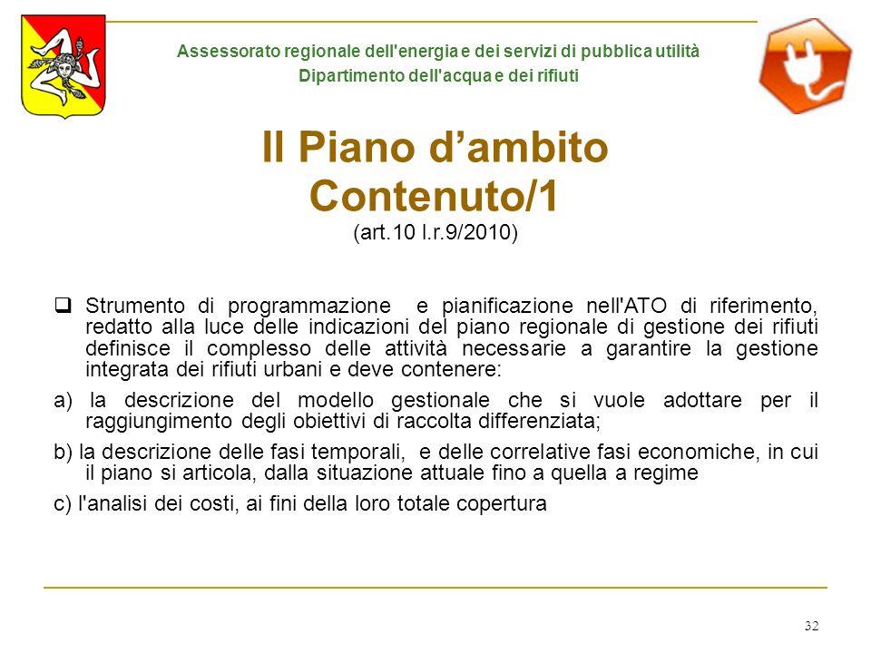 Il Piano d'ambito Contenuto/1 (art.10 l.r.9/2010)