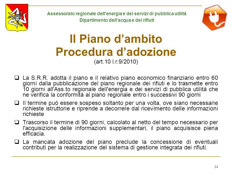 Il Piano d'ambito Procedura d'adozione (art.10 l.r.9/2010)