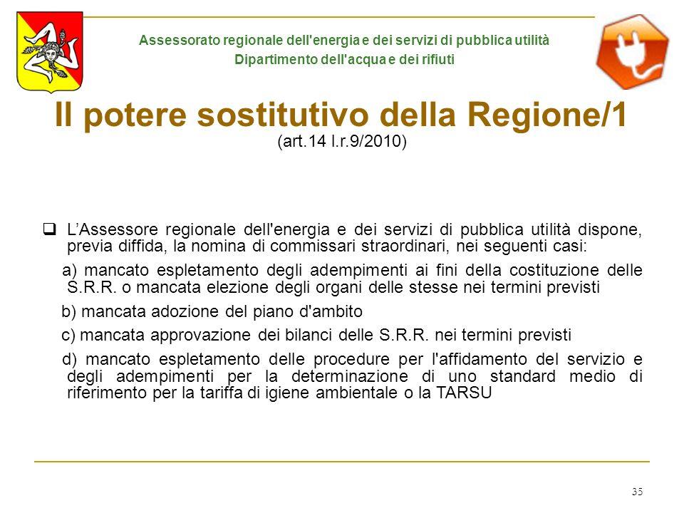 Il potere sostitutivo della Regione/1 (art.14 l.r.9/2010)