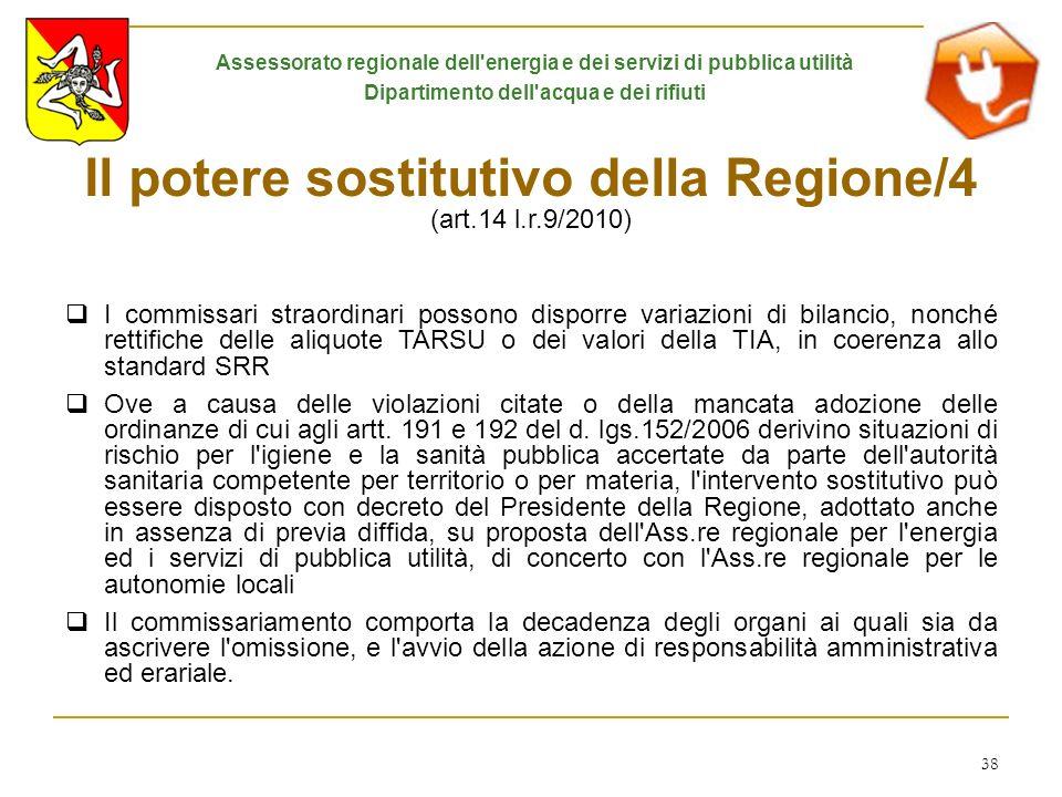 Il potere sostitutivo della Regione/4 (art.14 l.r.9/2010)