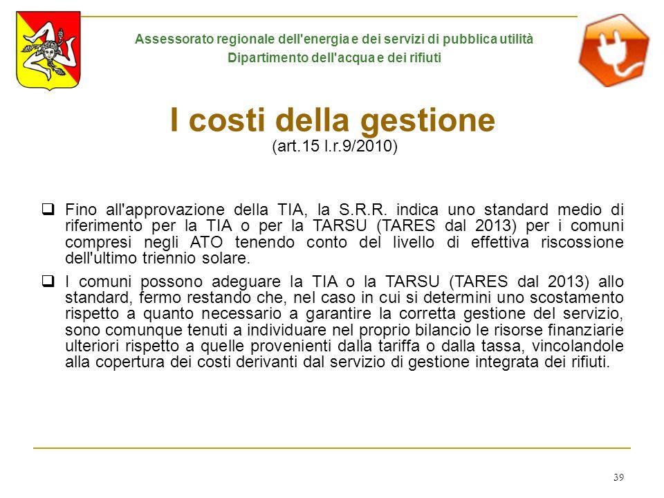 I costi della gestione (art.15 l.r.9/2010)
