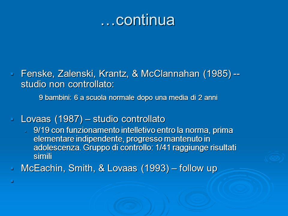 …continuaFenske, Zalenski, Krantz, & McClannahan (1985) -- studio non controllato: 9 bambini: 6 a scuola normale dopo una media di 2 anni.