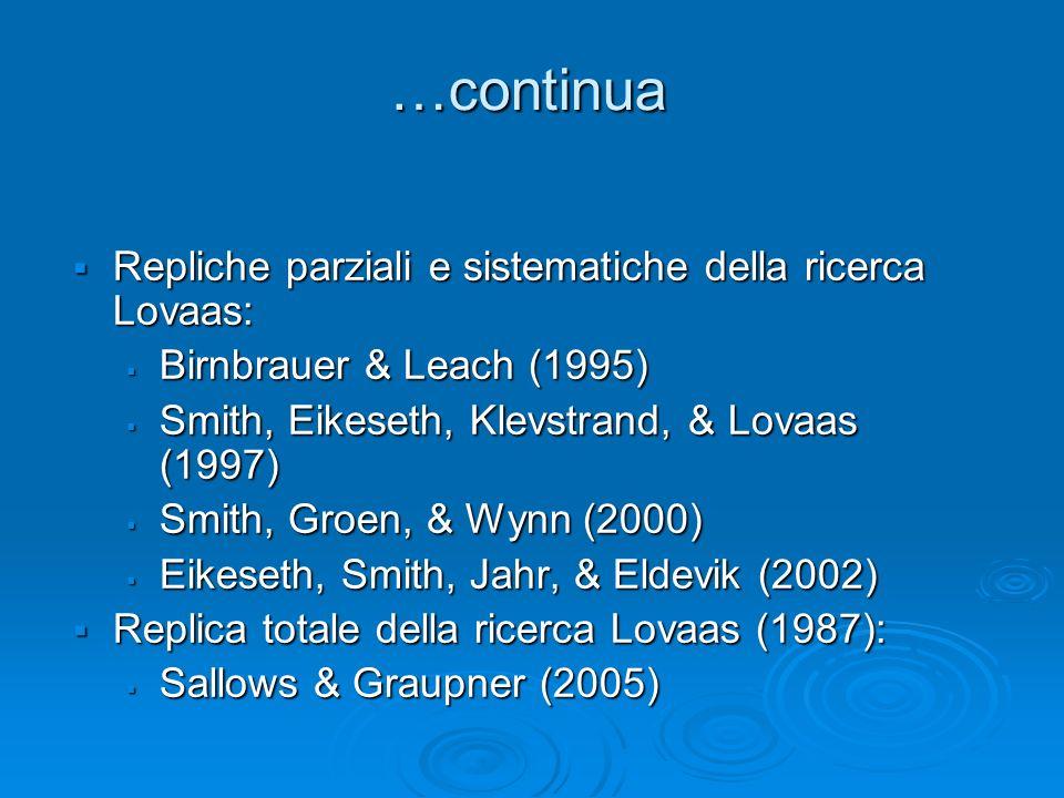 …continua Repliche parziali e sistematiche della ricerca Lovaas: