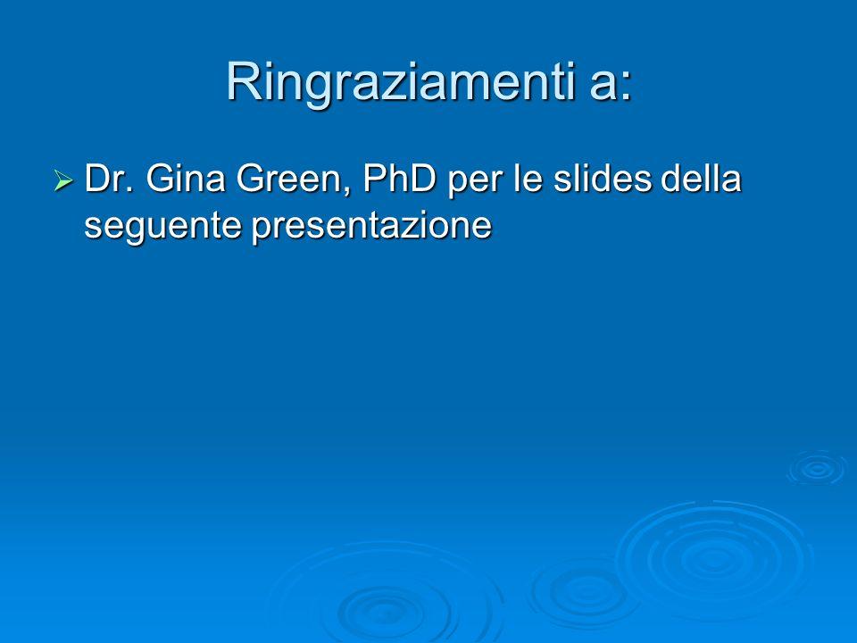 Ringraziamenti a: Dr. Gina Green, PhD per le slides della seguente presentazione