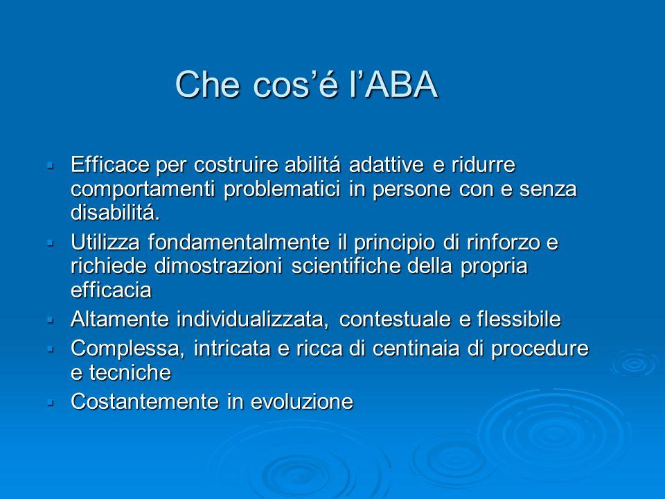 Che cos'é l'ABAEfficace per costruire abilitá adattive e ridurre comportamenti problematici in persone con e senza disabilitá.