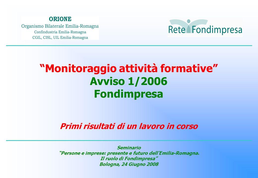 Monitoraggio attività formative Avviso 1/2006 Fondimpresa