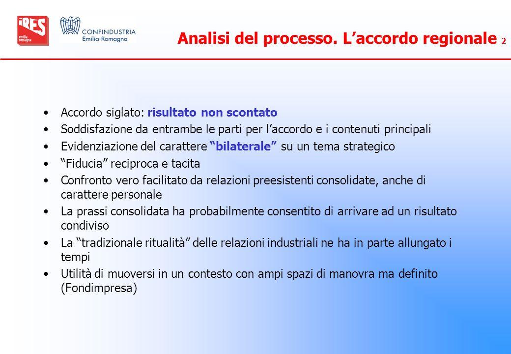 Analisi del processo. L'accordo regionale 2
