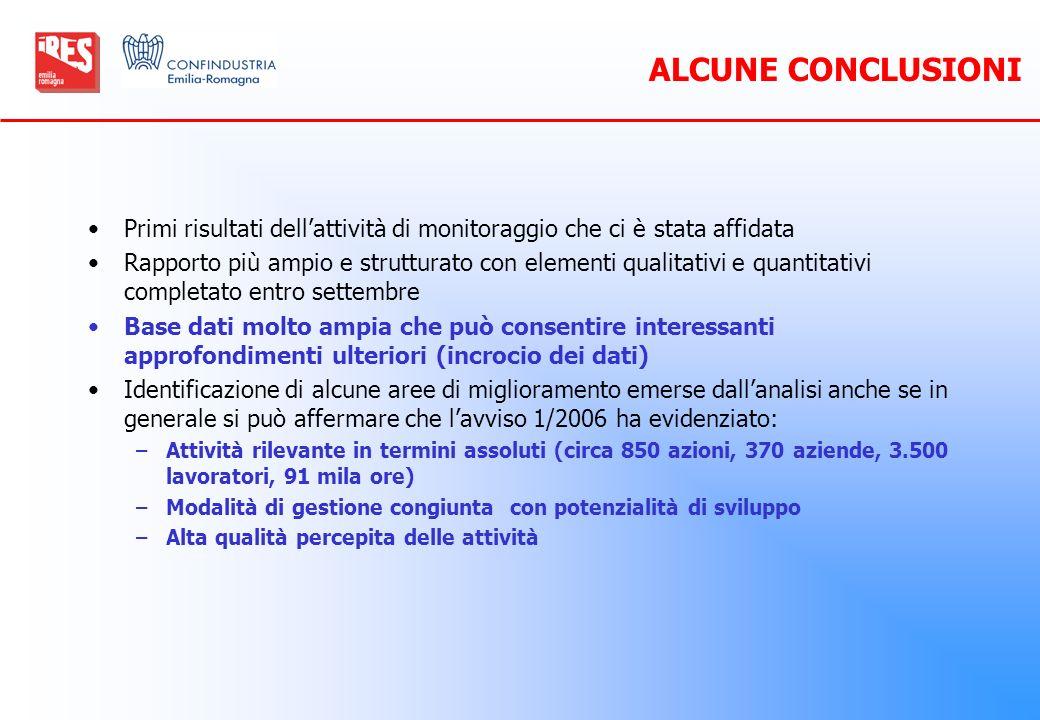 ALCUNE CONCLUSIONI Primi risultati dell'attività di monitoraggio che ci è stata affidata.