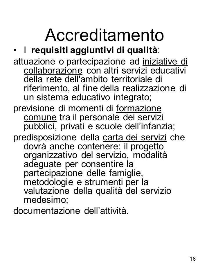 Accreditamento I requisiti aggiuntivi di qualità: