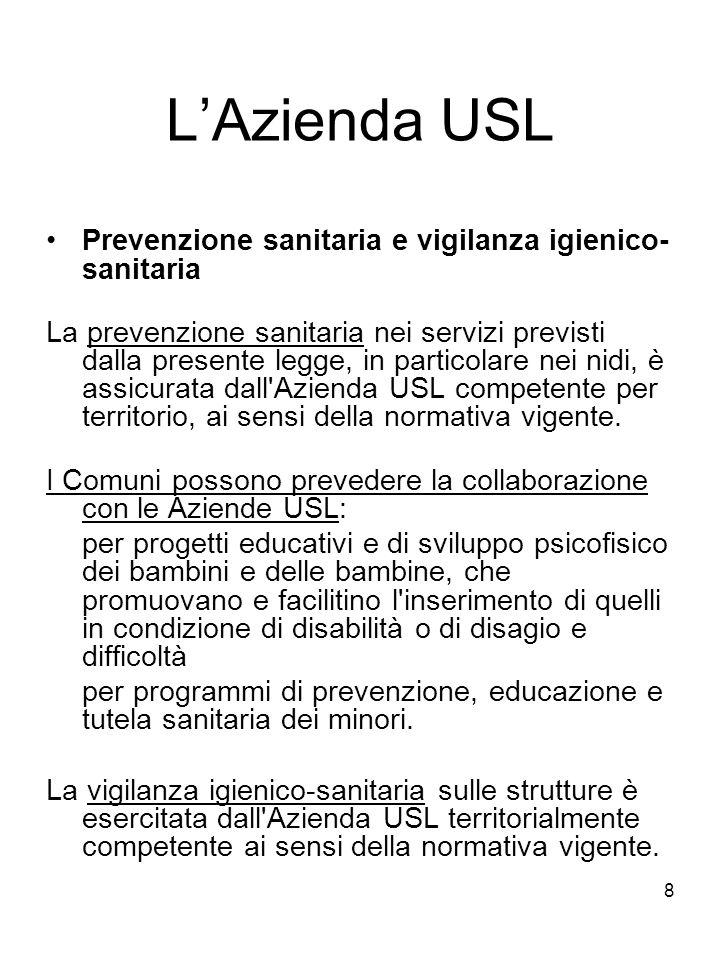 L'Azienda USL Prevenzione sanitaria e vigilanza igienico-sanitaria
