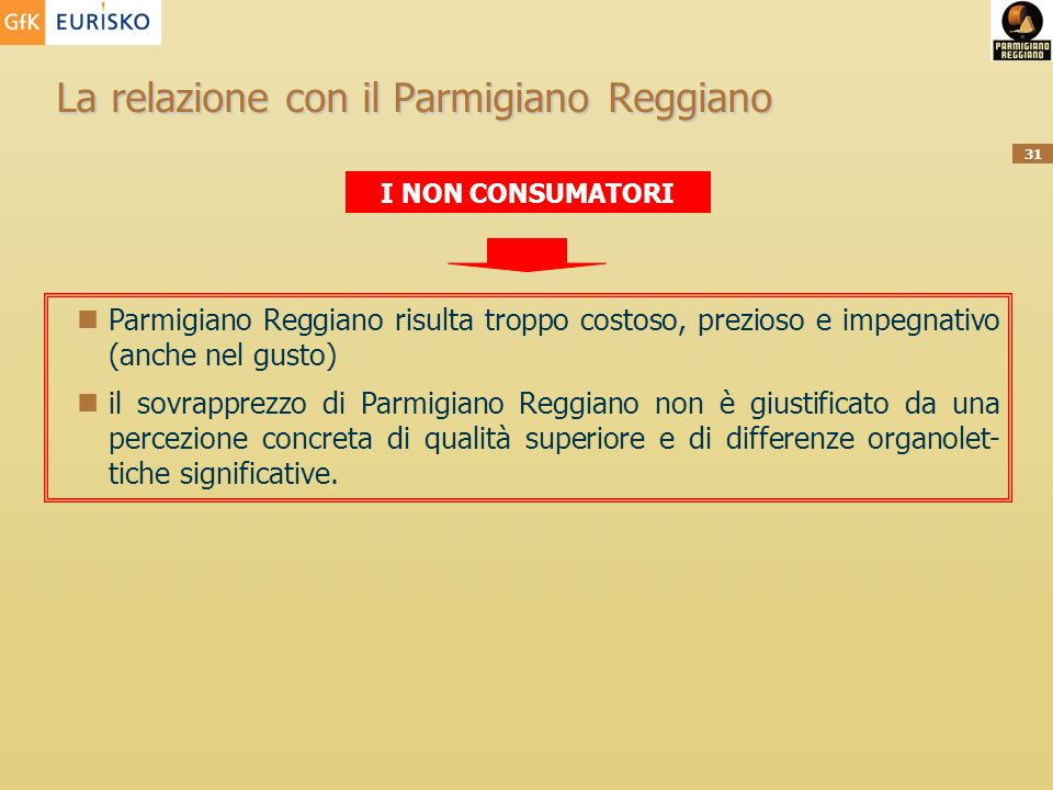 La relazione con il Parmigiano Reggiano