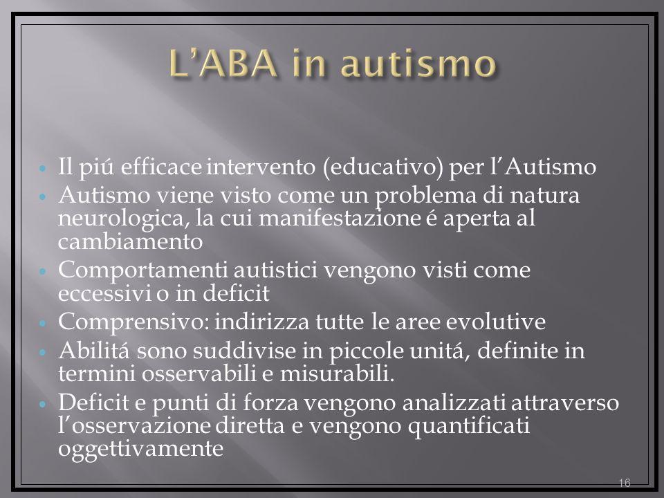L'ABA in autismo Il piú efficace intervento (educativo) per l'Autismo