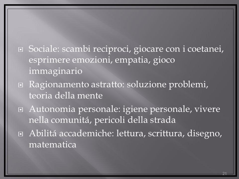 Sociale: scambi reciproci, giocare con i coetanei, esprimere emozioni, empatia, gioco immaginario