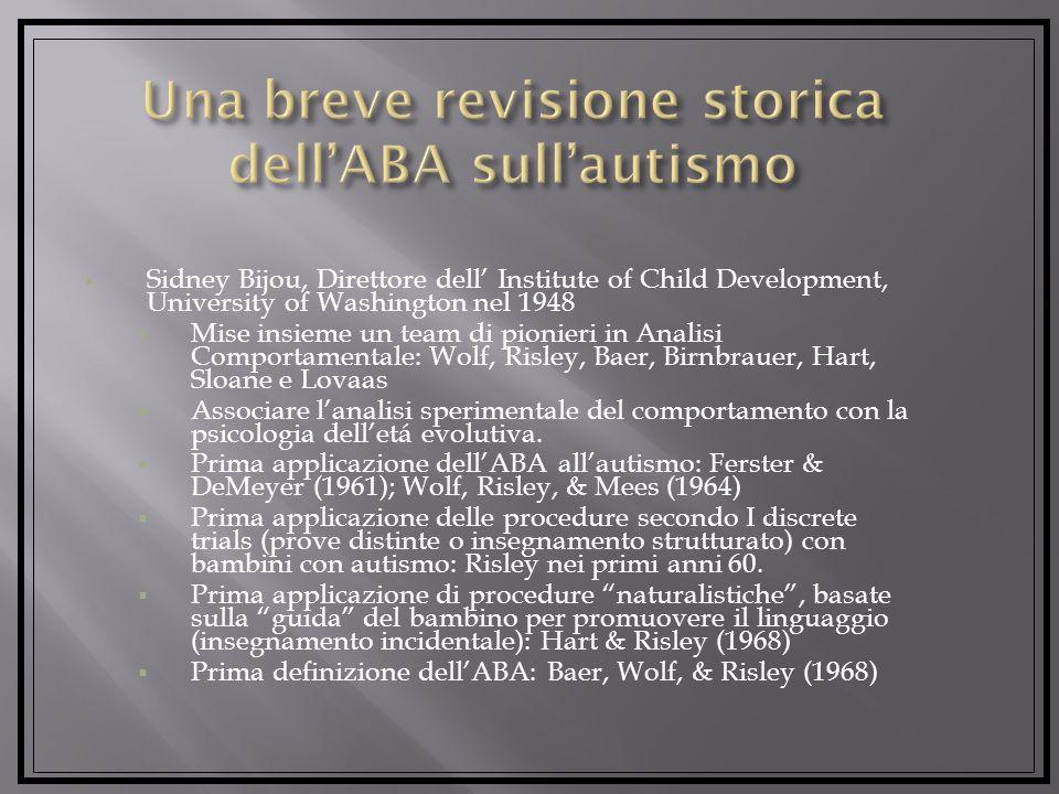Una breve revisione storica dell'ABA sull'autismo