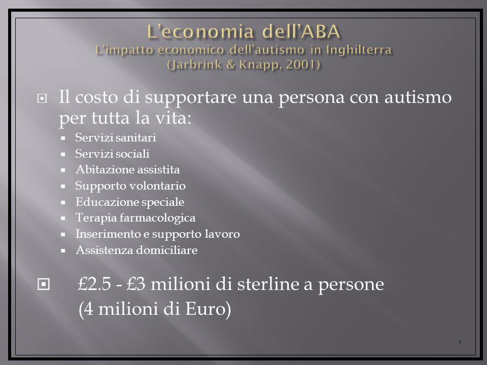 Il costo di supportare una persona con autismo per tutta la vita: