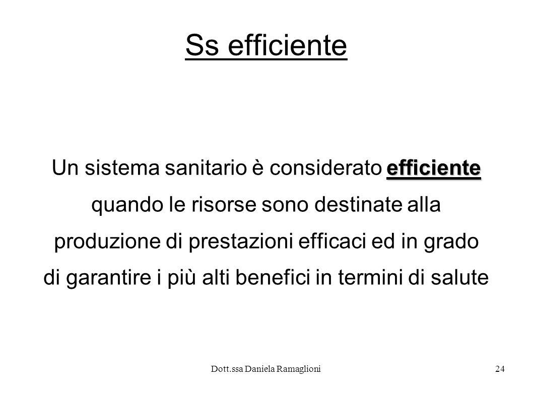 Ss efficiente Un sistema sanitario è considerato efficiente