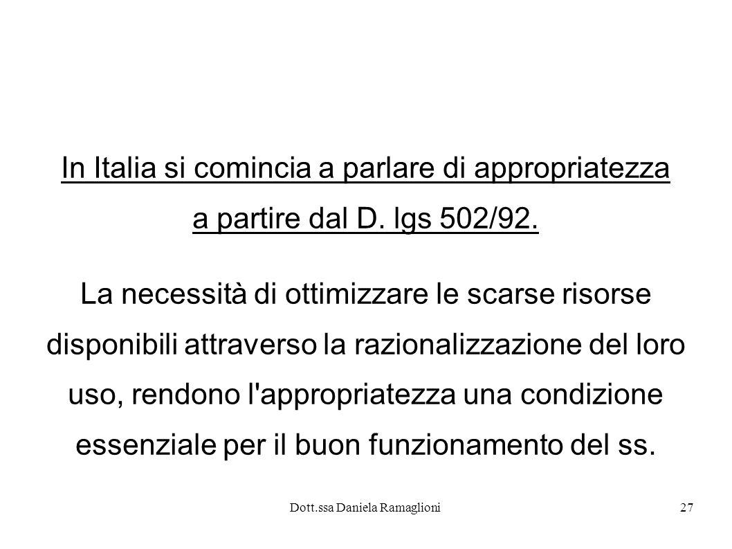 In Italia si comincia a parlare di appropriatezza